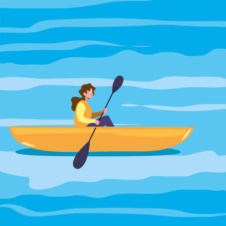 woman with rowboat in the river vector illustration