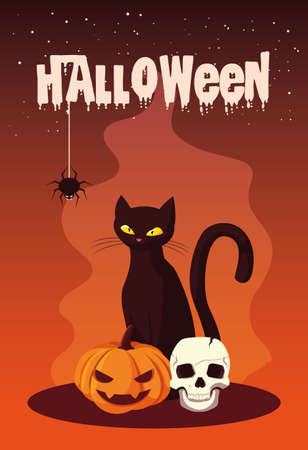 poster of halloween with cat and icons vector illustration design
