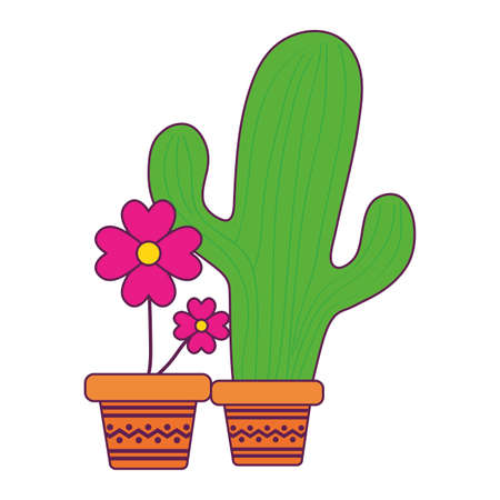 Mexican cactus and flower inside pots design, Mexico culture tourism landmark latin and party theme Vector illustration