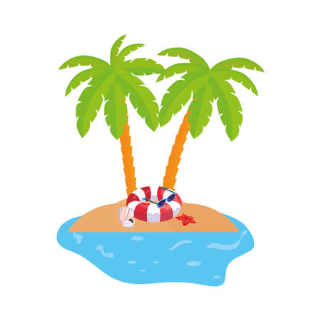 summer coastline scene with palms and float vector illustration design