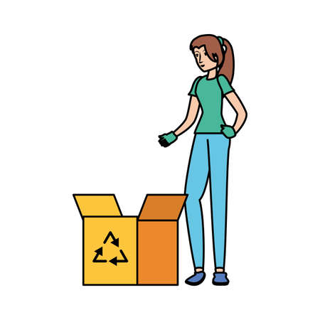 Avatar woman and recycle box design, Ecology eco save green natural environment protection and care theme Vector illustration