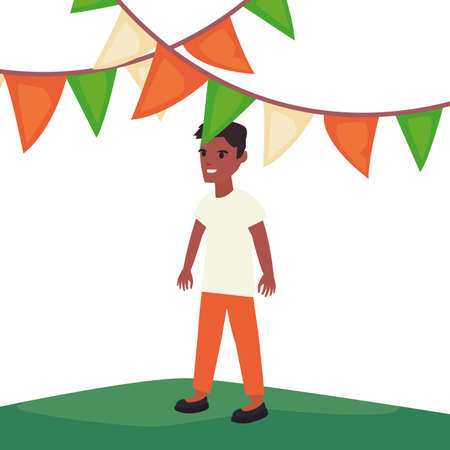man celebrating pennants indian happy independence day vector illustration