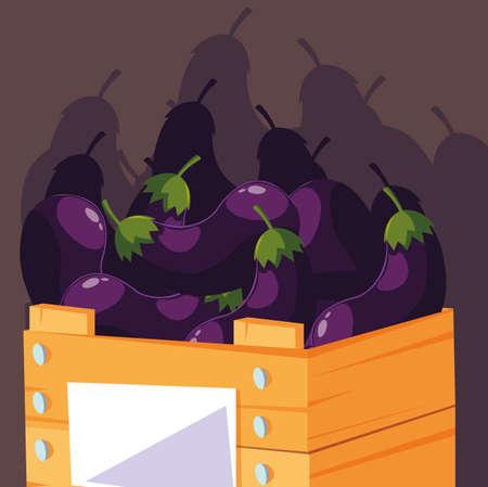 fresh eggplants vegetables in wooden crate vector illustration design