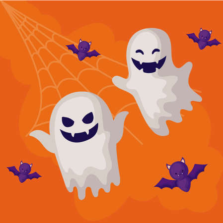 ghosts mysteries with icons of halloween vector illustration design