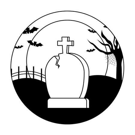 tombstone with bats flying in scene halloween vector illustration Vector Illustratie