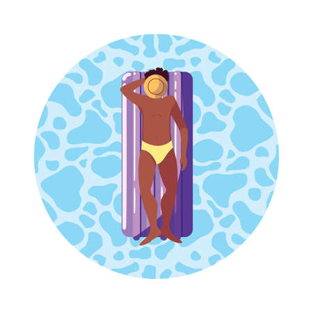 afro man with swimsuit and float mattress in water vector illustration design
