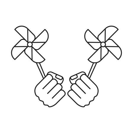 fans windmills toy with hands fist power vector illustration design