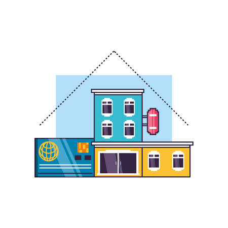 hotel building place with credit card vector illustration design