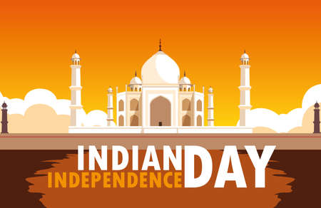 indian independence day poster with taj majal mosque vector illustration design