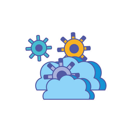 cloud computing technology with gear pinions vector illustration design