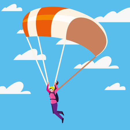 skydiver with parachute extreme sport and lifestyle vector illustration