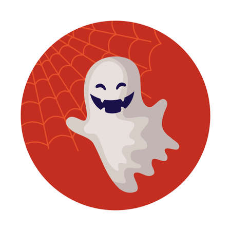 spooky halloween ghost on white background vector illustration design Ilustrace