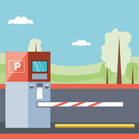parking zone with ticket machine and barricade scene vector illustration design Ilustração