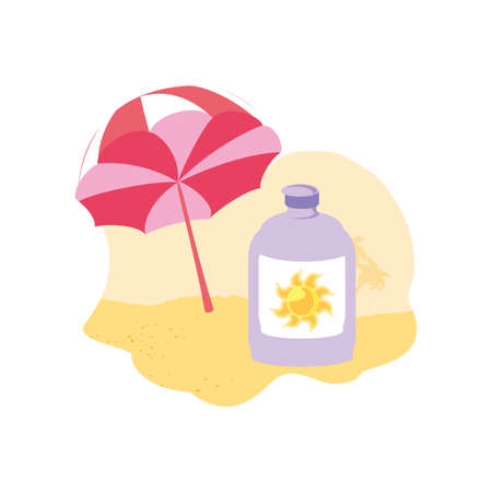 solar blocker bottle in the beach with umbrella vector illustration design