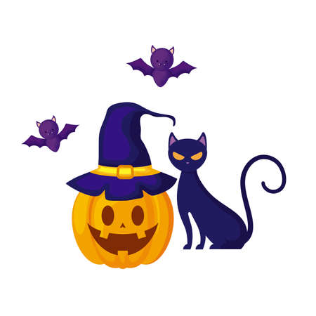 halloween pumpkin with cat and bats flying vector illustration design