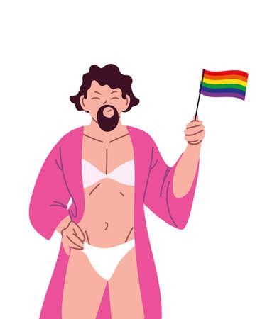 transvestite man cartoon with lgbti flag design, pride community sexual orientation and identity theme Vector illustration Illustration
