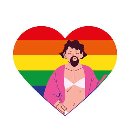 transvestite man cartoon in lgbti heart design, pride community sexual orientation and identity theme Vector illustration Illustration