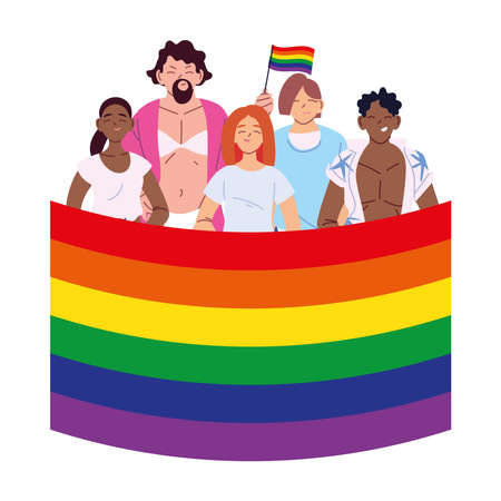women and men cartoons with lgbti flag design, pride community sexual orientation and identity theme Vector illustration Illustration