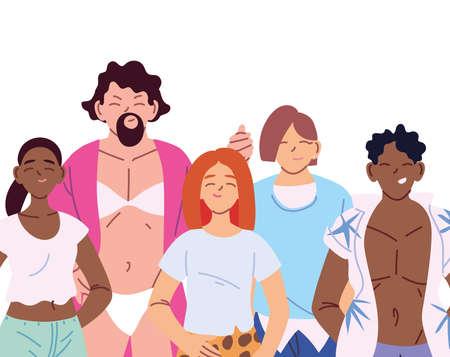 women and men cartoons design, lgtbi pride community sexual orientation and identity theme Vector illustration