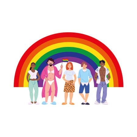 women and men cartoons with lgbti rainbow design, pride community sexual orientation and identity theme Vector illustration
