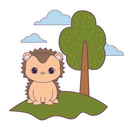 cute porcupine animal in landscape natural vector illustration design