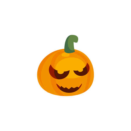 halloween pumpkin with fear face on white background vector illustration design