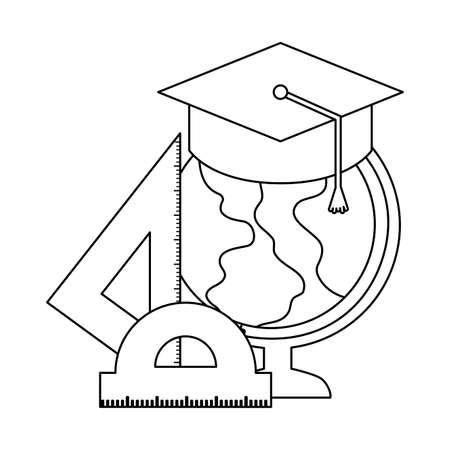 terrestrial globe with set supplies school vector illustration design