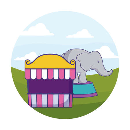 elephant animal with tent circus in frame circular vector illustration design