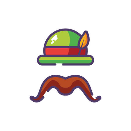 German hunting hat with feather and moustache vector illustration design Illusztráció