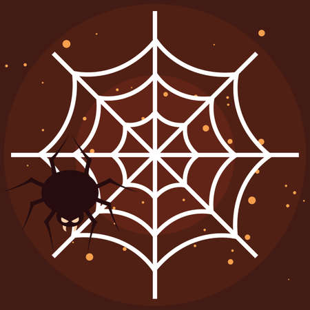halloween insect in spider web vector illustration design