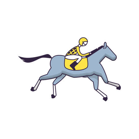 horse with jockey racecourse icon vector illustration design