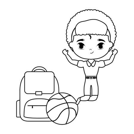 little student boy with supplies school vector illustration design