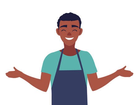 young seller man character with apron vector illustration