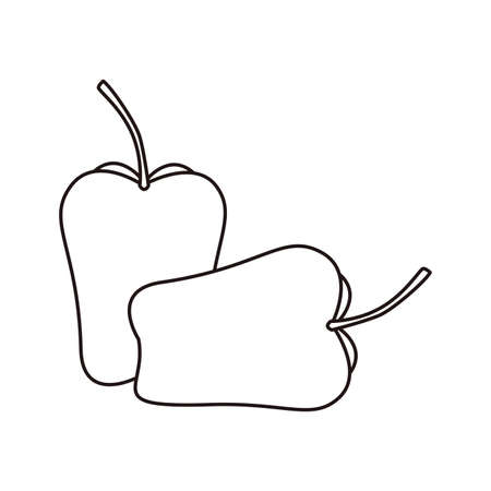 bell peppers cooking icon on white background vector illustration