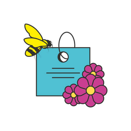 tag commercial with flowers and bee vector illustration design