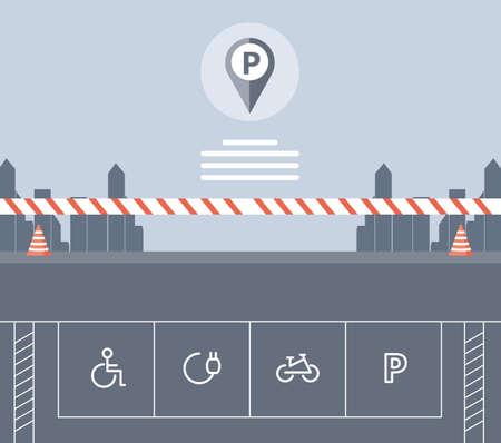 barricade of parking zone set signals vector illustration design