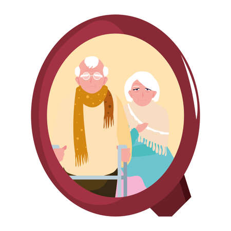happy grandparents day - adorable couple grandparents frame picture vector illustration