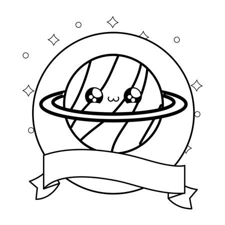 cute planet saturn with ribbon decoration kawaii style vector illustration design