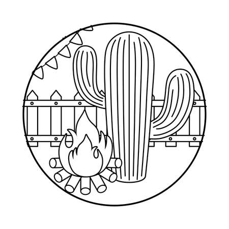 campfire flame with cactus in frame circular vector illustration design