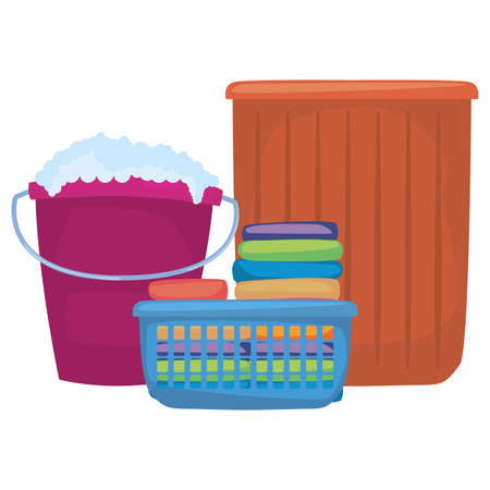 bucket basket clothes laundry cleaning products and supplies vector illustration