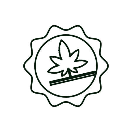 cicular lace with cannabis leaf plant vector illustration design
