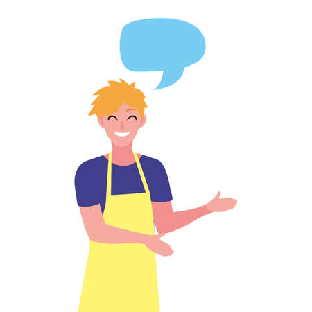 young seller man character with apron talk bubble vector illustration