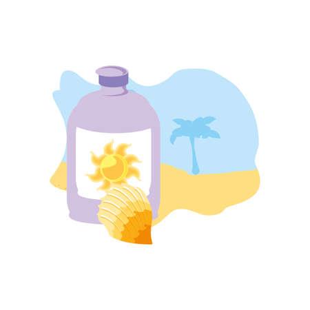 solar blocker bottle in the beach with seashell vector illustration design Illusztráció