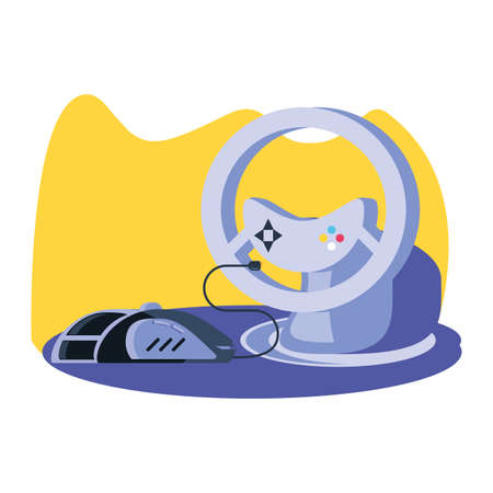 video game car wheel control with mouse vector illustration design