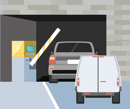building with entrance of parking zone and barricade vector illustration design