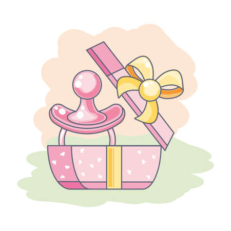 cute pacifier baby in gift box present vector illustration design