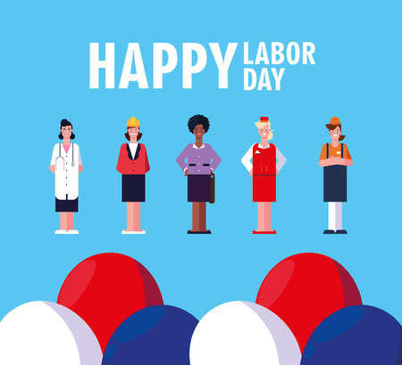 labor day label with women professionals vector illustration design  イラスト・ベクター素材