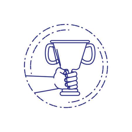 winner hands with trophy cup award vector illustration design