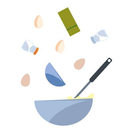 bowl eggs salt utensil preparation cooking vector illustration Imagens - 154620432