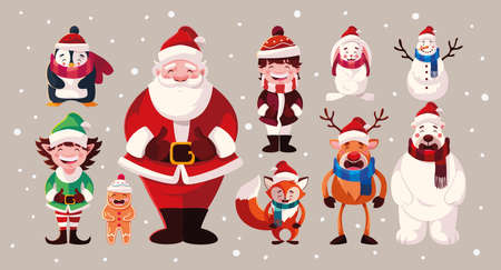 set of icons christmas with santa claus and animals vector illustration design